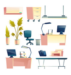 office furniture and equipment cartoon set vector image