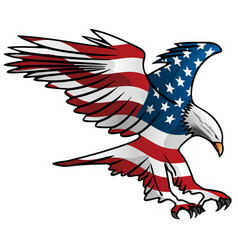 Patriotic flying american flag eagle vector