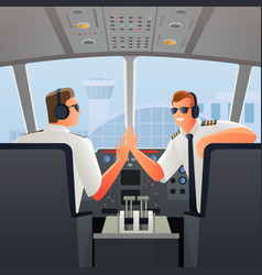 Pilots in cabin of plane vector