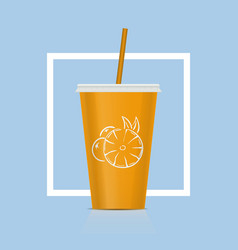 Plastic fastfood cup for beverages citrus plastic vector
