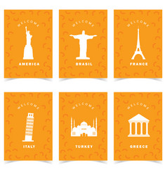Poster for travel on orange background set one vector