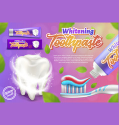 Promotional poster whitening toothpaste 3d vector