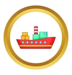 Red cargo ship icon vector