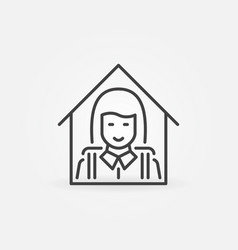 schoolgirl at home line icon studying at home vector image