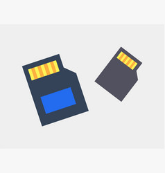 Sd cards for photo and video storage color icons vector