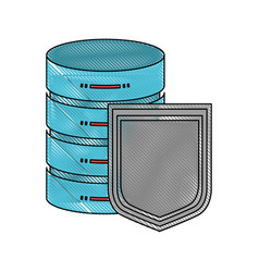 Server hosting storage and protection shield icon vector