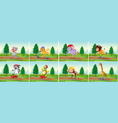 set animal in park vector image