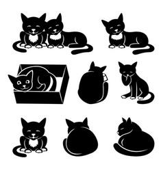 Set of black cats vector
