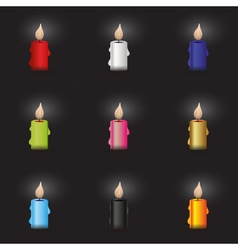 set of colorful candle at night eps10 vector image