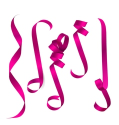 Shiny pink ribbon on white background vector image