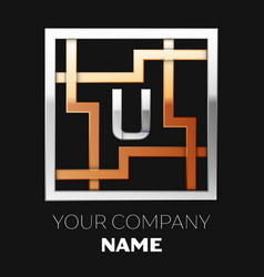 silver letter u logo in silver-golden square maze vector image