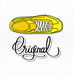 sneaker with calligraphy letters vector image