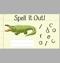 spell english word crocodile vector image