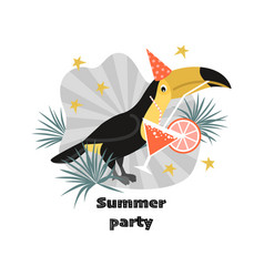 summer party banner with funny toucan vector image