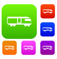 Swiss mountain train set collection vector