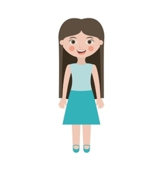 Teen smiling with long hair and skirt vector