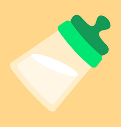 Tilted kids bottle of milk with nipple in flat vector