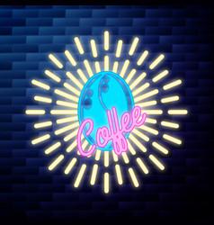 vintage coffee emblem glowing neon sign vector image