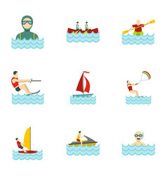 Water sports icons set flat style vector