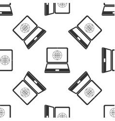 website on laptop screen icon seamless pattern vector image