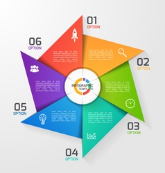Windmill style infographic template 6 options vector