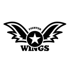 Wings star fighter logo simple style vector
