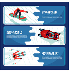 winter sport horizontal banners with active vector image