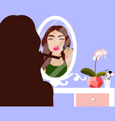 With girl doing makeup vector