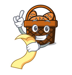 with menu bread basket mascot cartoon vector image