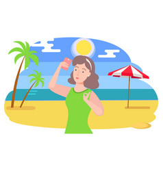 woman on vacation taking selfie on smartphone vector image
