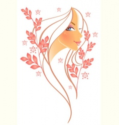 women profile leaf vector image