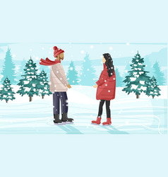 young couple skating on ice rink outside in the vector image
