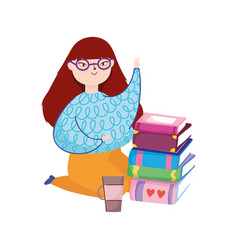 Young woman on knees with books and coffee cup vector