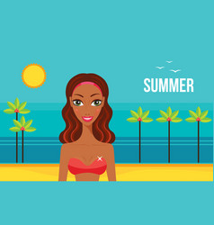 Beautiful african american woman on beach summer vector