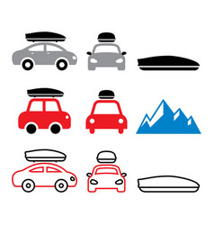 car roof box roof rack or carrier icons vector image