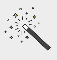 magic wand and sparks black outline colorful icon vector image vector image