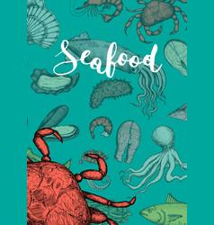 seafood vintage hand drawn banner vector image