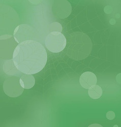 Web in the wood on a green abstract background vector image