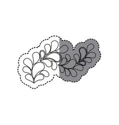 contour leaves decoration icon vector image