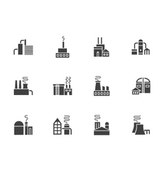 Industrial plants black monochrome icons vector image