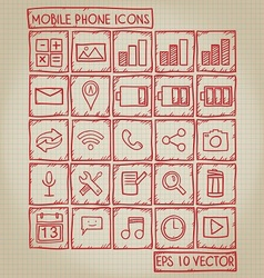 Mobile Phone Icon Doodle Set vector image vector image