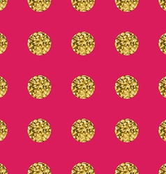 Pattern polka dot gold on pink background vector image