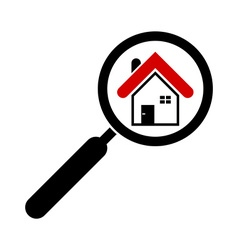 search house icon magnifying glass real estate vector image vector image