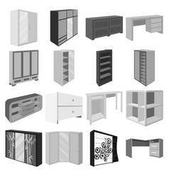 Wardrobe mirror wood and other icons of interior vector