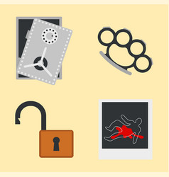 Crime icons protection law justice sign security vector