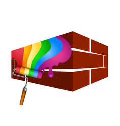 painting with a roller of walls vector image vector image