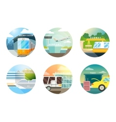 Transport stations flat icons set vector image