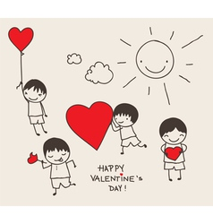 valentines day doodle vector image vector image
