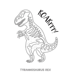 Black and white line art with dinosaur skeleton vector image vector image