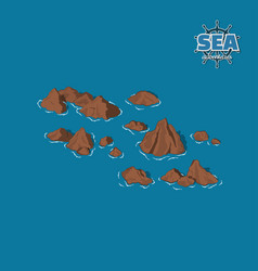 brown reefs on a blue background pirate game vector image